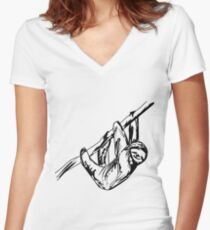 Vector Sloth Women's Fitted V-Neck T-Shirt