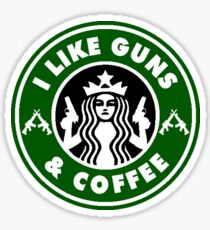 I Like Guns and Coffee Sticker