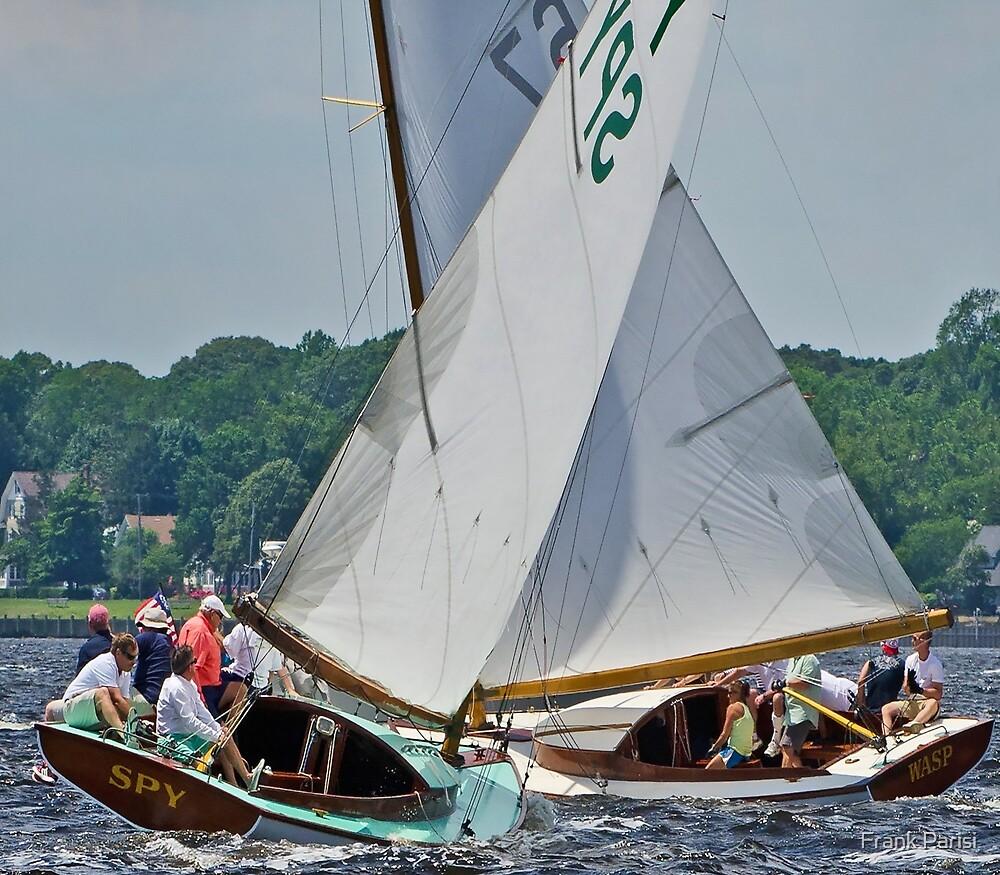 Sailboats on cross tacks by Frank Parisi