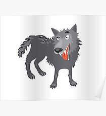Gray wolf. Cartoon, toothy wolf grey  Poster