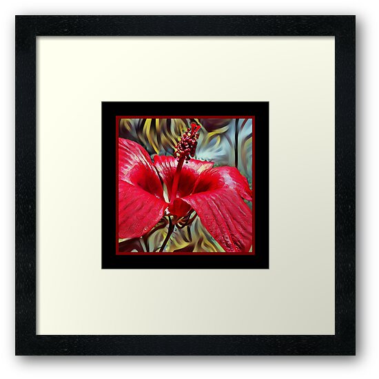 Red Tropical Flower Art by Alondra