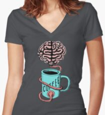 Coffee for the brain. Funny coffee illustration Women's Fitted V-Neck T-Shirt