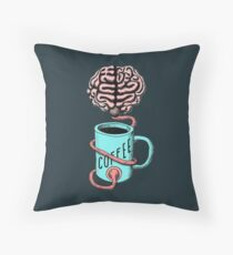 Coffee for the brain. Funny coffee illustration Throw Pillow