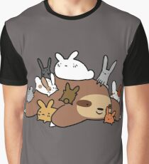 Bunnies and Sloth Graphic T-Shirt