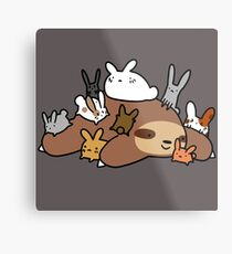 Bunnies and Sloth Metal Print