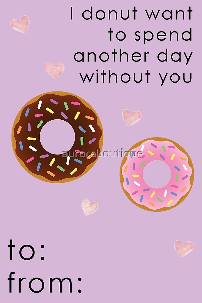 Donut Valentine Card Funny by auroraboutique