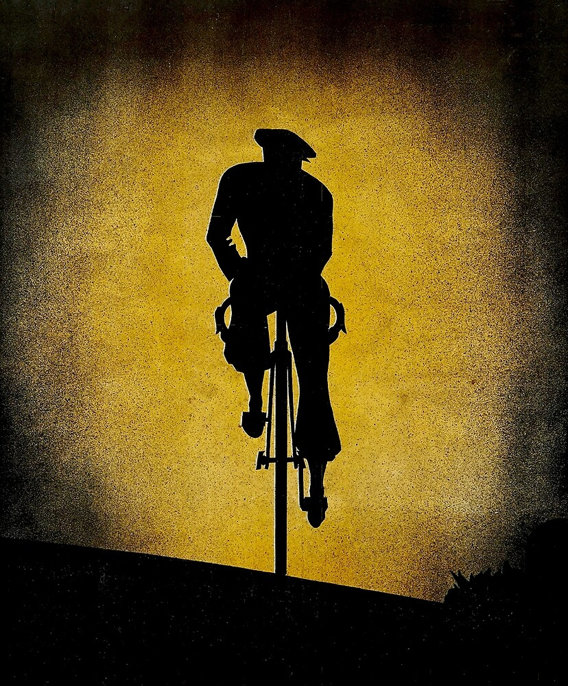 SILHOUETTE CYCLIST; Vintage Bicycle Riding Print by posterbobs
