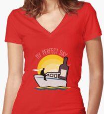 Funny Boat Captain Owner  Women's Fitted V-Neck T-Shirt