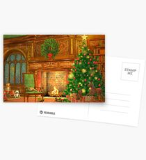 Christmas Fireplace Postcards