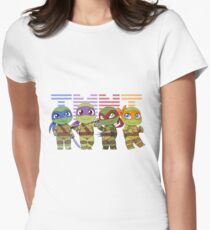 Chibi Heroes in a Half-Shell Womens Fitted T-Shirt