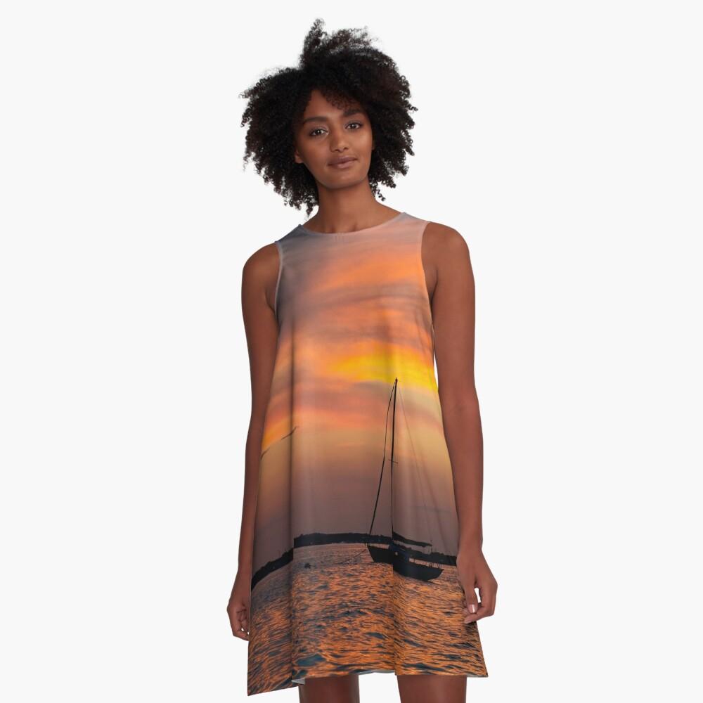 Serene sunset A-Line Dress Front