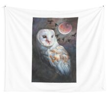 Owl of the Blood Moon Heart Wall Tapestry