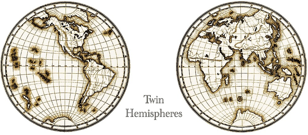 Antique style hemispheres of the earth by beauravn