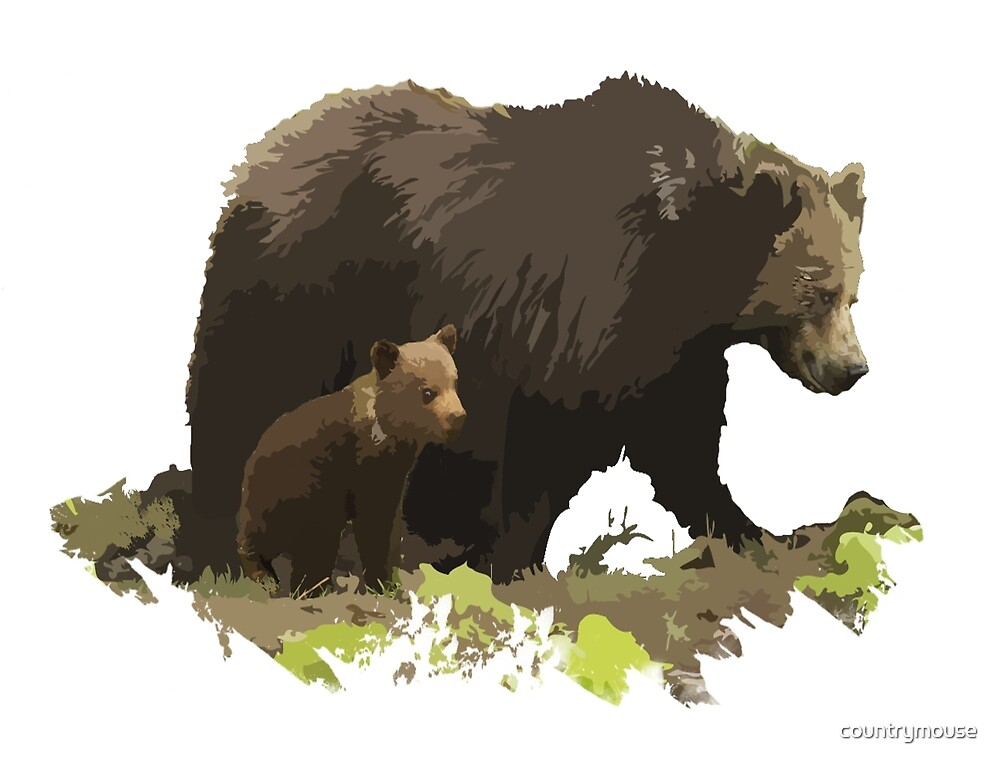 Brown Bear & Cub Animal Nature art by countrymouse