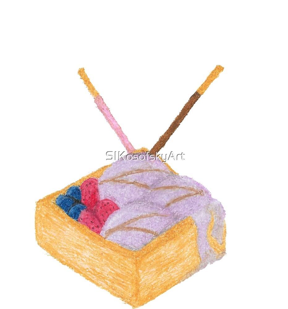 Taro Ice Cream in Waffle Bowl by SIKosofskyArt