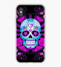 Blue and Purple Sugar Skull with Roses  iPhone Case