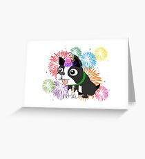 New Year 2017 Boston Terrier, Quincy Greeting Card