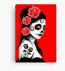 Red Day of the Dead Sugar Skull Girl Canvas Print