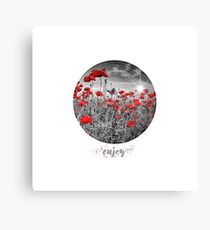 Graphic Art ENJOY | Field of Poppies - colorkey Canvas Print