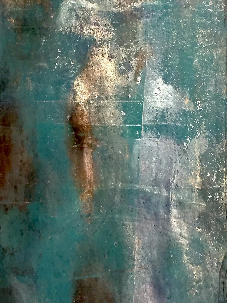Turquoise and Metallic Gold and Silver Abstract by zeelv