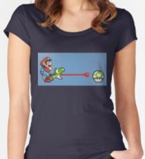 Super Mario World - Mario & Yoshi 1UP Women's Fitted Scoop T-Shirt