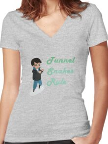 Tunnel Snakes Rule! Women's Fitted V-Neck T-Shirt