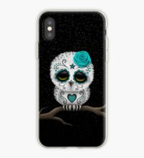 Cute Teal Blue Day of the Dead Sugar Skull Owl iPhone Case