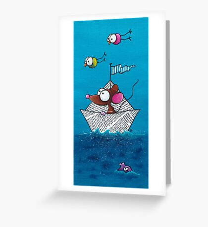 Mouse sails in his paper boat Greeting Card