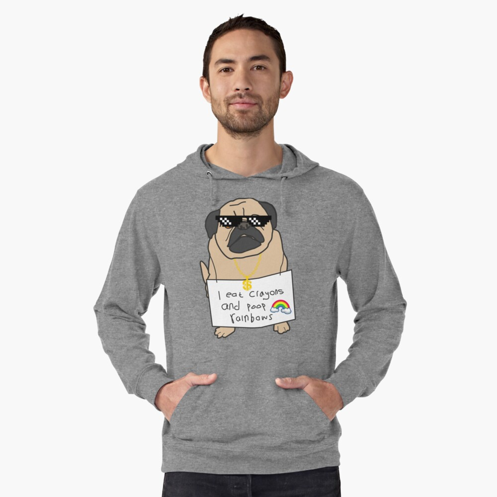 Pug Life - i eat crayons and poop rainbows Lightweight Hoodie Front