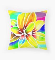 Caribbean Colorful Flowers Roses in Bright Vibrant Colors Throw Pillow