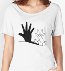 Rabbit Hand Shadow Women's Relaxed Fit T-Shirt