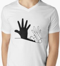 Rabbit Hand Shadow Men's V-Neck T-Shirt
