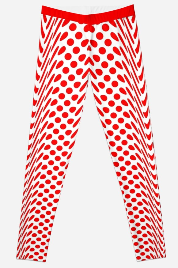 Red Polka Warped Dot (Large Spots) Leggings by SeaFruit