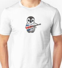 Baby Penguin Playing Costa Rican Flag Guitar Unisex T-Shirt