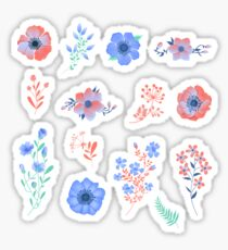 Floral Set of Beautiful Flowers and Leaves Sticker