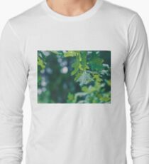 Raindrops on a leaf in the forest Long Sleeve T-Shirt