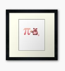 Pi day design with funny pig, nice gift for kids and adults Framed Print