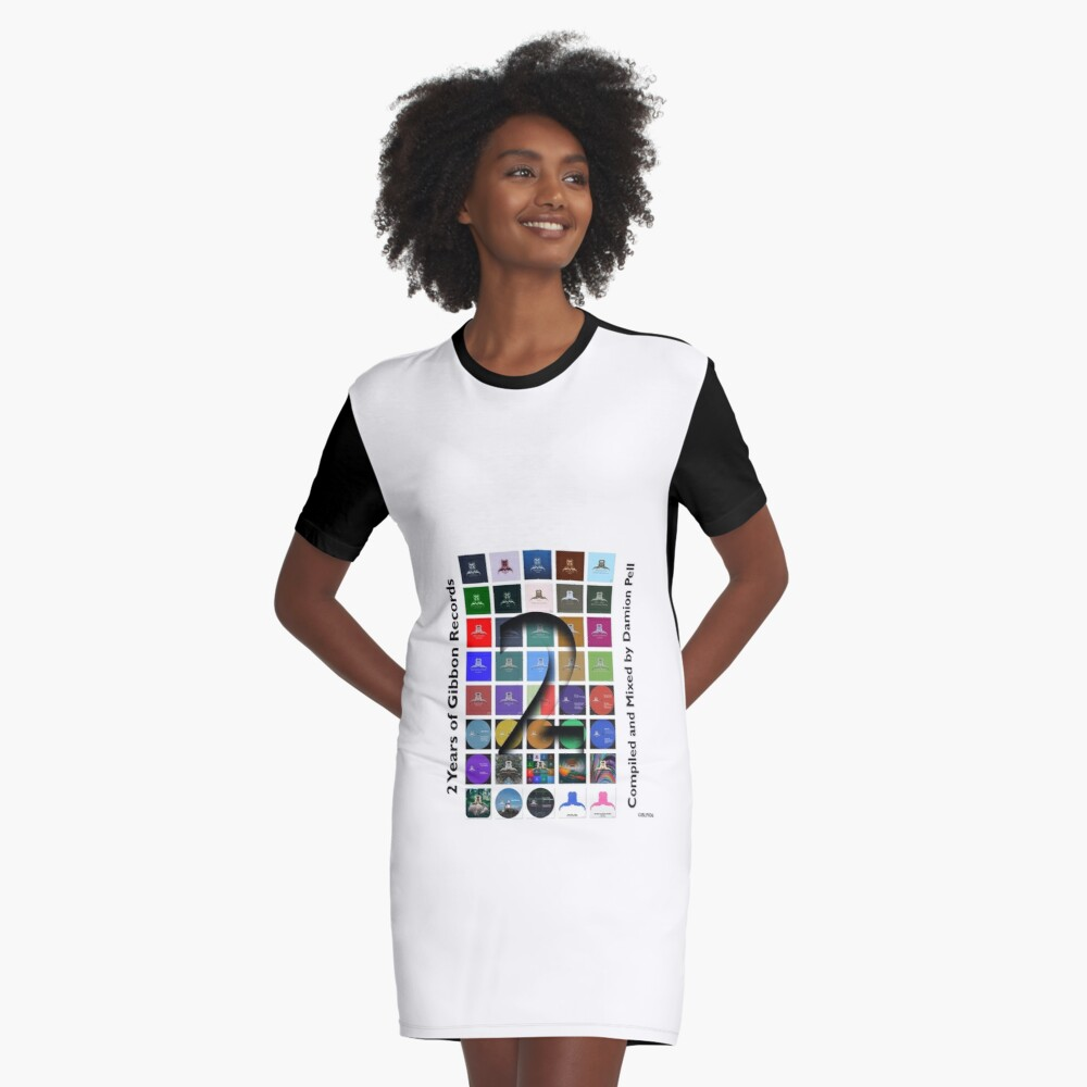2 Years Of Gibbon Records Graphic T-Shirt Dress Front