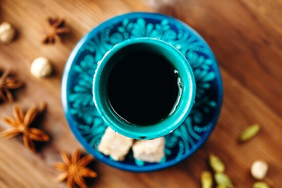 Hot Drink with Different Spices in Authentic Turkish Cups  by dariazu