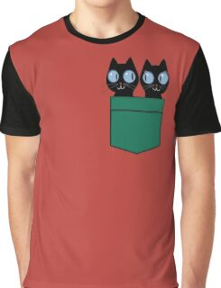 CUTE BLACK CATS IN GREEN POCKET Graphic T-Shirt