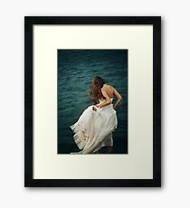 Woman with Long Hair in White Dress  Framed Print