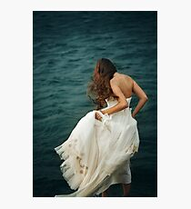 Woman with Long Hair in White Dress  Photographic Print