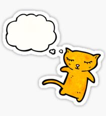 cartoon little cat with thought bubble Sticker