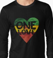 Camiseta de manga larga One Love Music Rasta Reggae Heart Peace Roots
