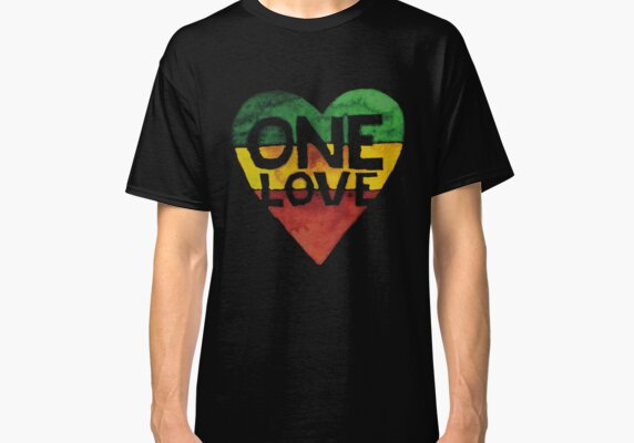 7587d0ed One Love Music Rasta Reggae Heart Peace Roots Classic T-Shirt