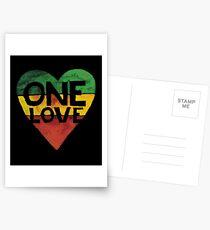 Eine Liebe Musik Rasta Reggae Herz Frieden Wurzeln Postkarten