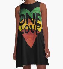 Eine Liebe Musik Rasta Reggae Herz Frieden Wurzeln A-Linien Kleid