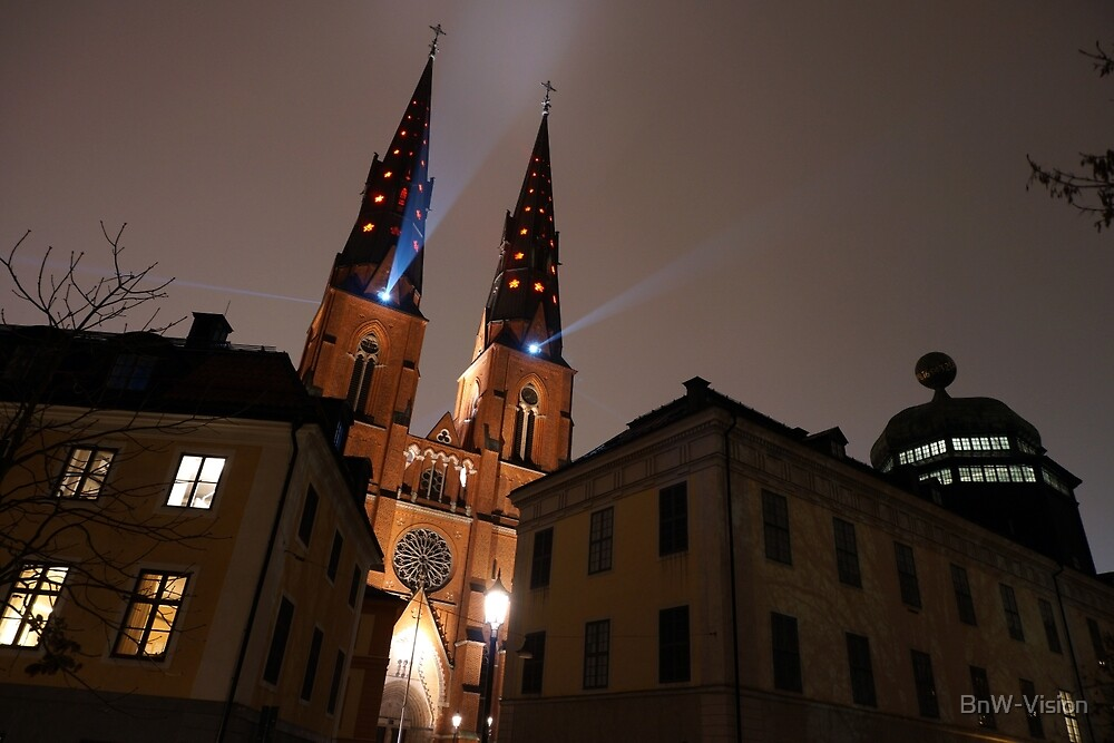 Uppsala Cathedral Night by BnW-Vision