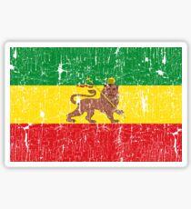 Old Flag of Ethiopia King Lion of Judah Rasta Reggae Music for Gift Sticker