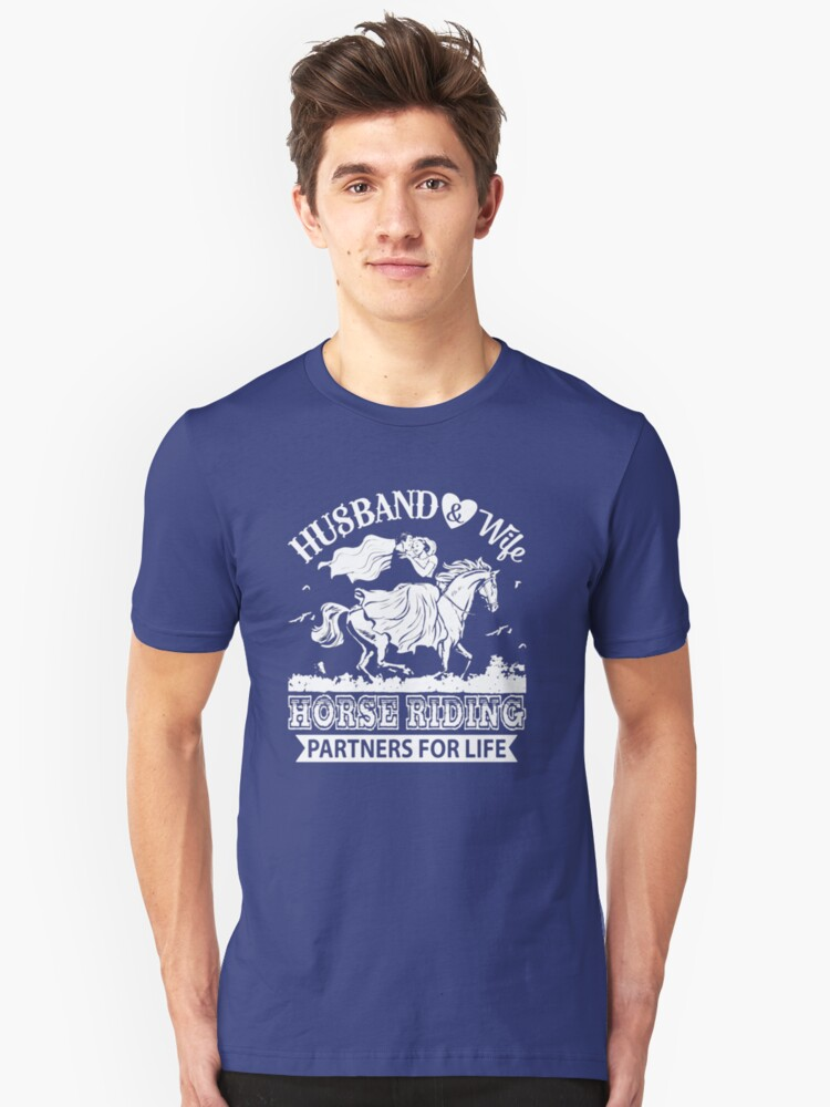 HUSBAND AND WIFE RIDING PARTNERS FOR LIFE  Unisex T-Shirt Front